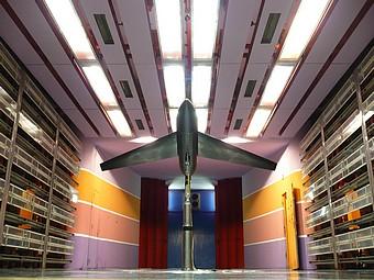Maquette Dassault dans la soufflerie S10